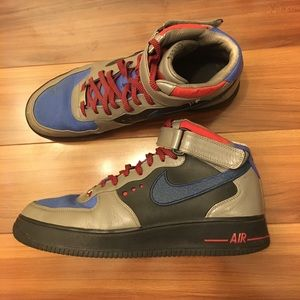 Men's Nike Air Force 1 Mids Blue Black Red Gray