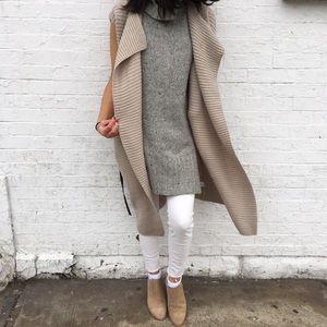 Long Caramel / Camel Cardigan Sweater with Tie