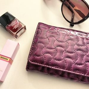 Handbags - Purple Quilted Faux Leather Roll Clutch Card hold