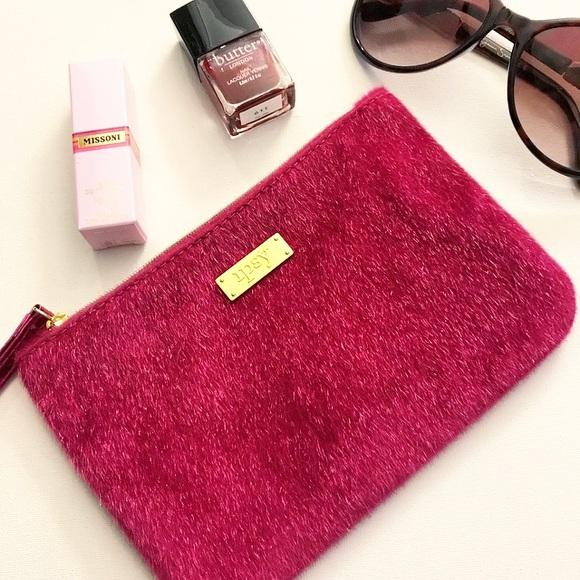 52610ff9c2 Ipsy Hot Pink Furry Soft Metallic Wristlet Bag