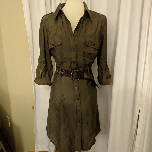 c950ccb42a Military style shirt dress - Olive green. M 59ffdbaf99086abcd210c5c5