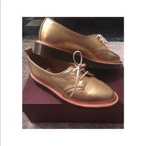 Dr Marten Made in England Gold Platform Flats US9