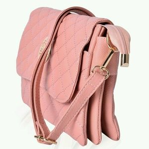 Handbags - Pink Quilted Crossbody Barrel Bag