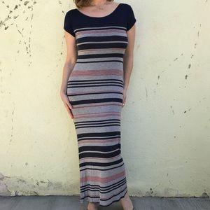 Dresses & Skirts - STRIPED MAXI DRESS long BLUE GRAY Sz M/L SHIRT