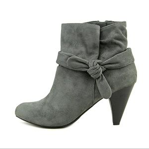 Tailorol1 Grey Blue Side Knot Ankle Bootie