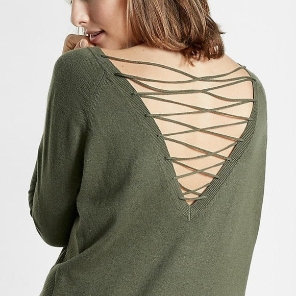 11e73d3855 Express Sweaters - Express Lace-up Back Circle Hem Sweater