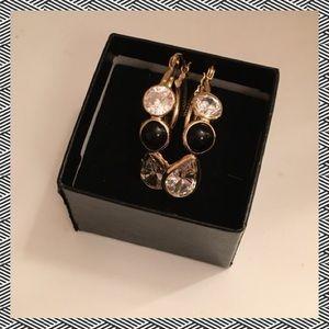 Jewelry - CZ black & white hoop earrings