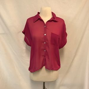 Xhilaration Magenta Sheer Short Sleeve Button Down