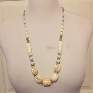 Vintage Neutral Color/Silver Beaded Necklace