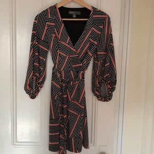 Donna Ricco 3/4 sleeve Geometric-Printed Dress
