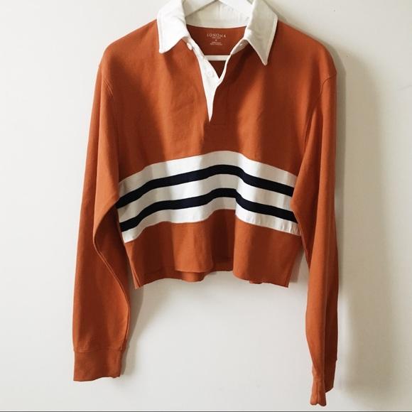 d93a4e0f36c Vintage Tops | Vtg Orange Striped Oversized Cropped Polo Shirt ...