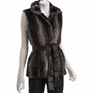 Via Spiga faux fur belted vest with pockets