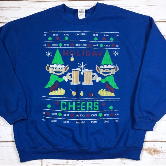 Gildan Shirts Ugly Christmas Sweatshirt Elves Drinking Beer Poshmark