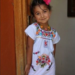 Authentic Mexican Dress for Girls White Floral