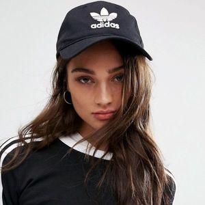 5bbccb77e74cf adidas Accessories - Adidas Trefoil Black Relaxed Strapback Dad Hat Cap