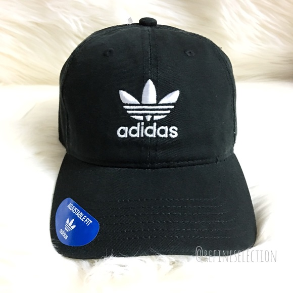 8091408905d Adidas Trefoil Black Relaxed Strapback Dad Hat Cap