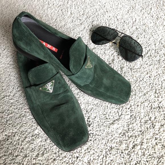 89b7356f265 Prada Shoes - PRADA dark green soft suede LOGO loafers sz38   8