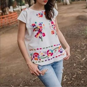 Authentic Mexican Embroidered Blouse Cuernavaca