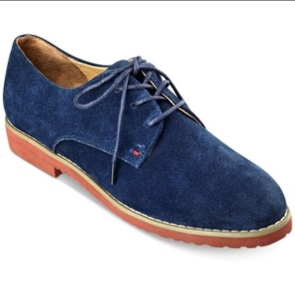 New Tommy H Womens Navy Suede Oxfords