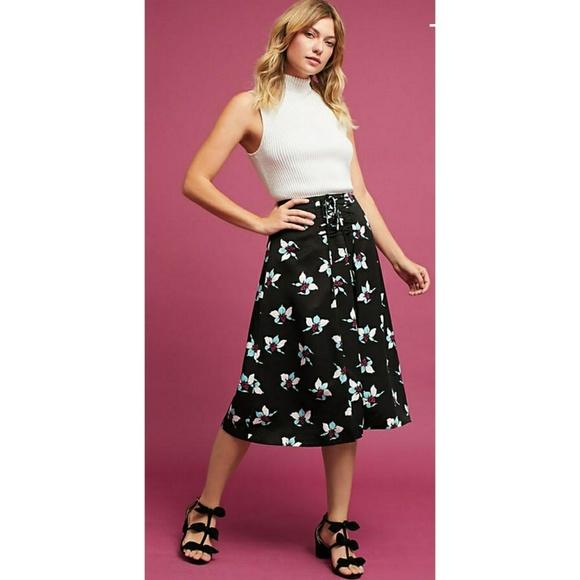 2bcbab5fe8 ANTHROPOLOGIE Floral Midi Skirt Lace Up
