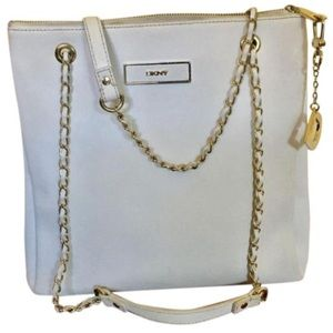 DKNY Saffiano Leather Convertible White Tote Bag