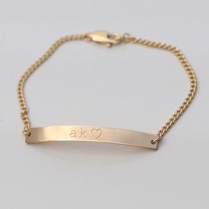 Jewelry - 14K Gold Filled Engraved Dainty Bar Bracelet
