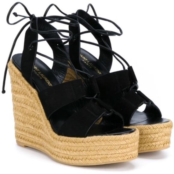 3626365625b Saint Laurent Espadrille Lace Up Sandal Size 38