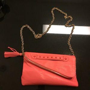 Aldo coral pink folding envelope clutch
