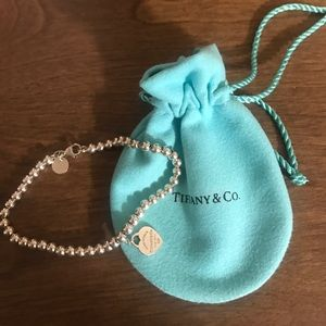 Tiffany&Co Sterling Silver heart tag bead bracelet