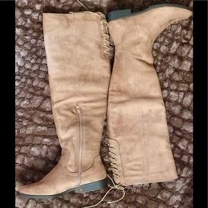 XOXO Shoes - XOXO Taupe Over the Knee Boots