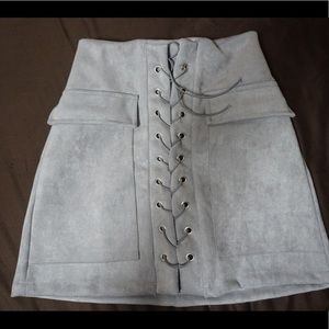Dresses & Skirts - Suede laced skirt