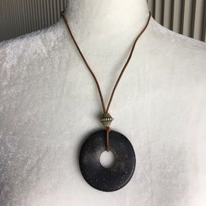 "Jewelry - Vintage Black Pendant on Leather Necklace. - 24"""