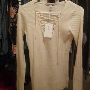 Autumn Cashmere lace up lightweight sweater