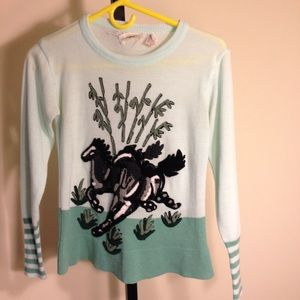 VINTAGE 70's horse sweater awesome!!!