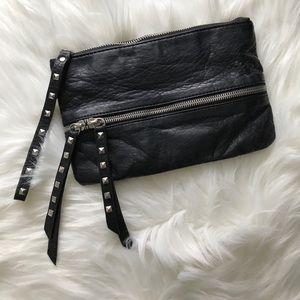 Black Silver Studded Wristlet Clutch Purse Edgy