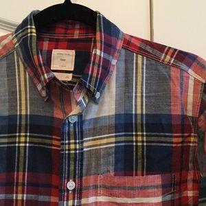GAP Red Blue Plaid Button Down Shirt