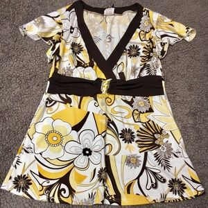 🌺bogo🌺Yellow brown and cream dress top