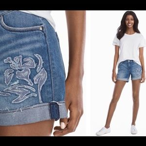 4 1/2-INCH EMBROIDERED JEAN SHORTS