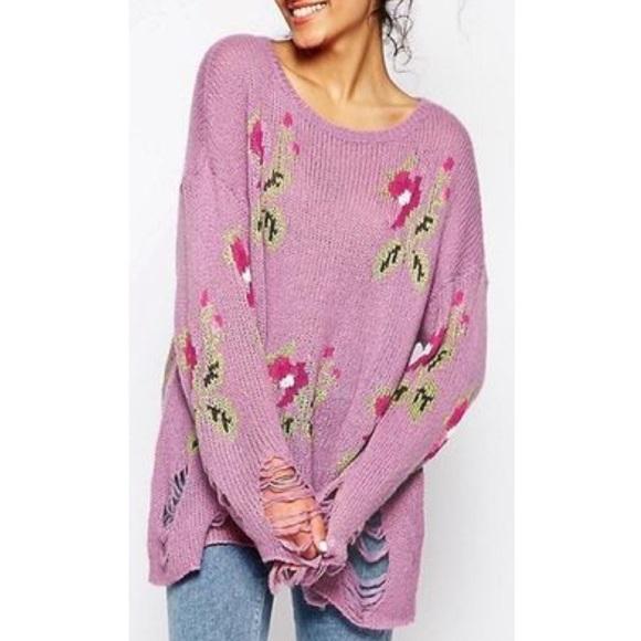 c2d6f438891f12 Wildfox Sweaters   Sale Little Edie Lennon Floral Sweater   Poshmark
