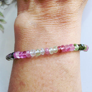 Semi Precious Tiny Tourmaline Bracelet with clasp