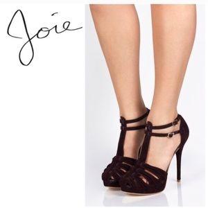 New Joie Rexanne Suede platform heels - wine