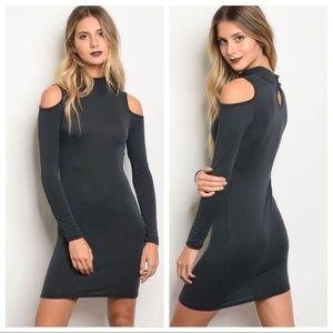 Dresses & Skirts - 💕Charcoal Cold Shoulder Dress