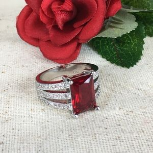 Kaki Jo's Closet Jewelry - Sim Red & White Diamond Stainless Steel Ring