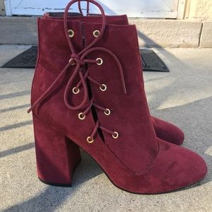 Asos Burgundy Tie Side Heels