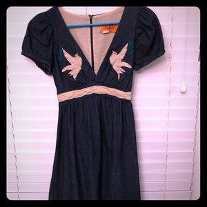 Voom denim short sleeve peace dove dress