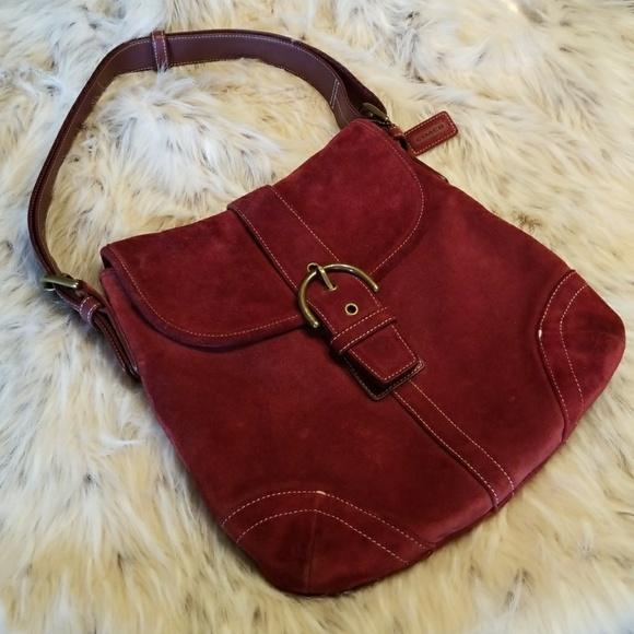 6c16562cfdf2 Coach Handbags - COACH VINTAGE SUEDE BURGUNDY CONVERTIBLE BAG 9482