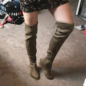 NWT Taupe over the knee boots. Faux suede