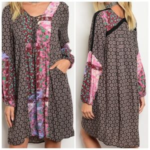Multicolored patch print detail tunic dress