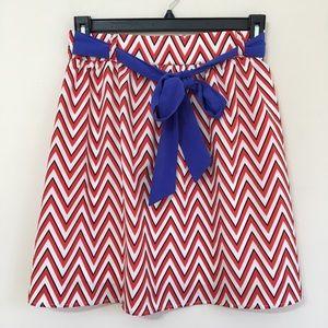 Everly Red and White Chevron Skater Skirt