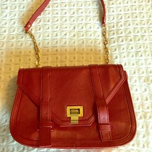 Handbags - Red crossbody bag with gold details